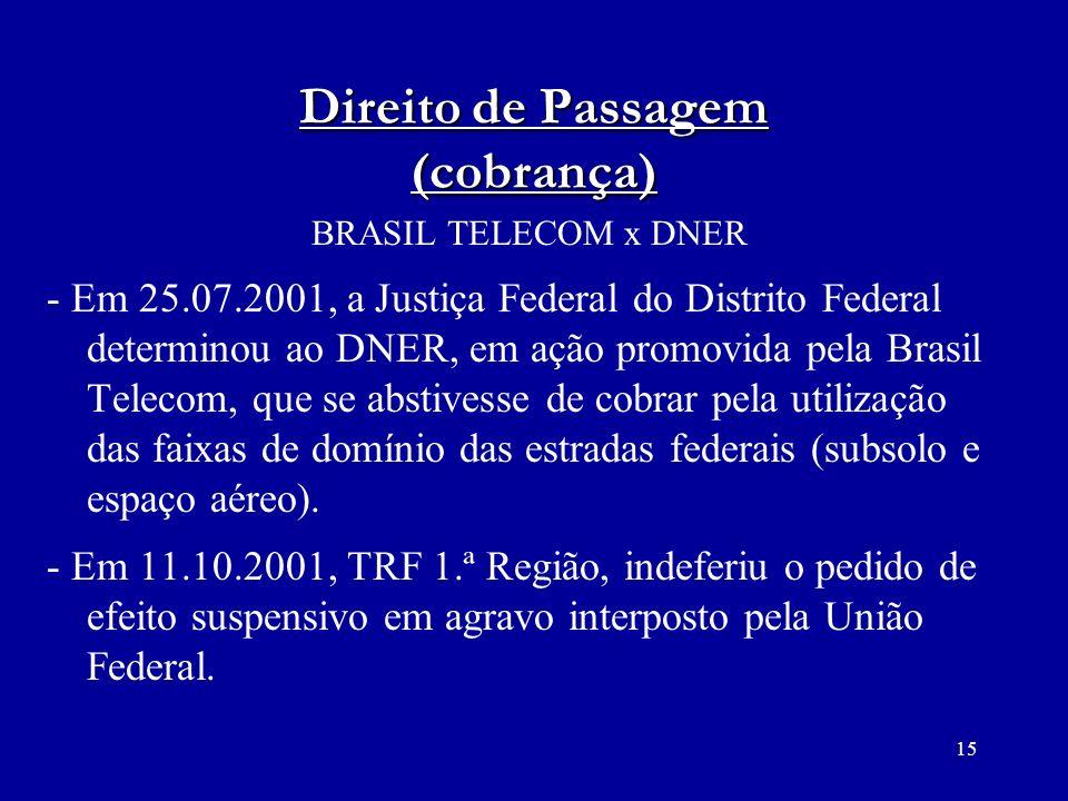 15 Direito de Passagem (cobrança) BRASIL TELECOM x DNER - Em 25.07.2001, a Justiça Federal do Distrito Federal determinou ao DNER, em ação promovida p