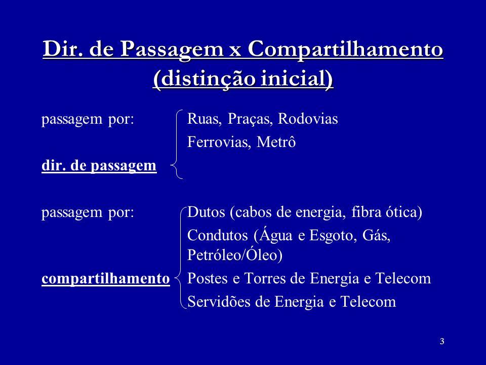 14 Direito de Passagem (cobrança) REMUNERAÇÃO x INDENIZAÇÃO Configurada ou não a Servidão Administrativa: - não há previsão de remuneração.