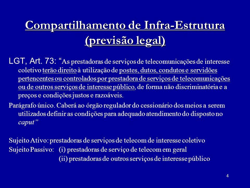 4 Compartilhamento de Infra-Estrutura (previsão legal) LGT, Art. 73: As prestadoras de serviços de telecomunicações de interesse coletivo terão direit