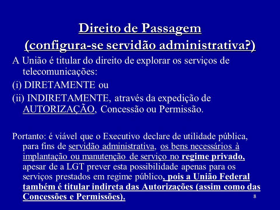8 Direito de Passagem (configura-se servidão administrativa?) A União é titular do direito de explorar os serviços de telecomunicações: (i) DIRETAMENT
