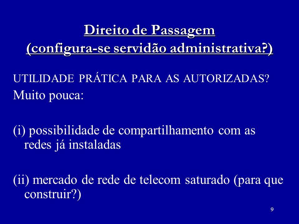 9 Direito de Passagem (configura-se servidão administrativa?) UTILIDADE PRÁTICA PARA AS AUTORIZADAS? Muito pouca: (i) possibilidade de compartilhament