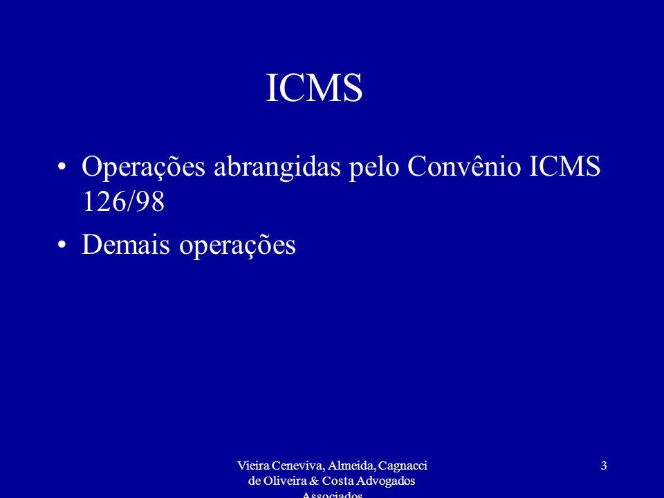 Vieira Ceneviva, Almeida, Cagnacci de Oliveira & Costa Advogados Associados 3 ICMS Operações abrangidas pelo Convênio ICMS 126/98 Demais operações