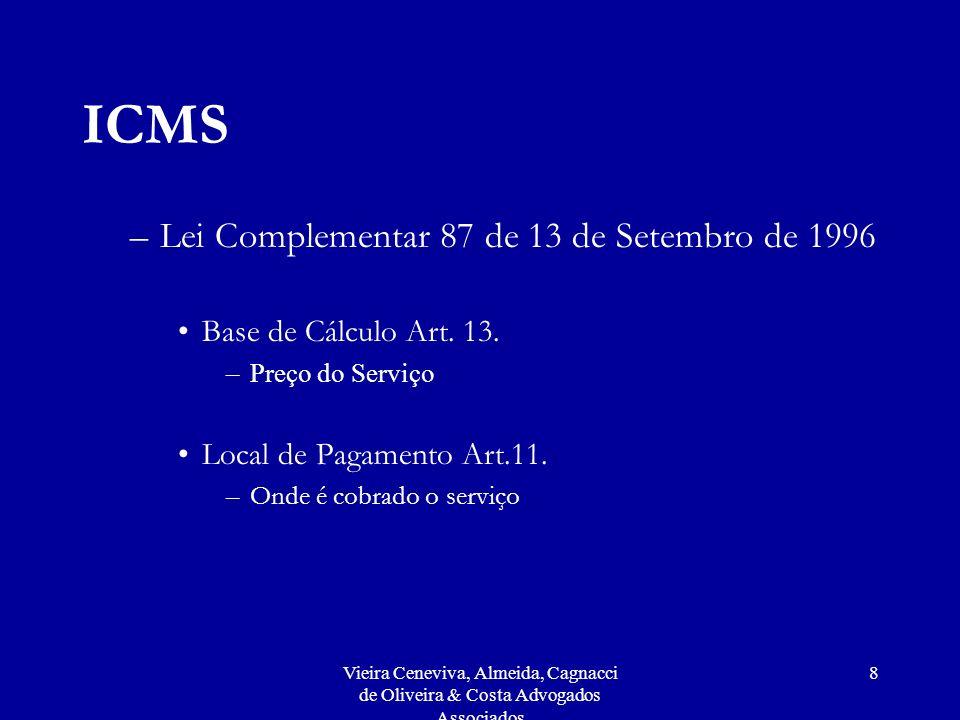 Vieira Ceneviva, Almeida, Cagnacci de Oliveira & Costa Advogados Associados 8 ICMS –Lei Complementar 87 de 13 de Setembro de 1996 Base de Cálculo Art.