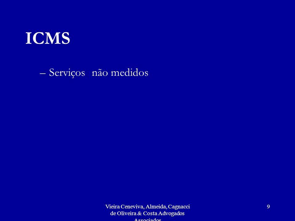 Vieira Ceneviva, Almeida, Cagnacci de Oliveira & Costa Advogados Associados 9 ICMS –Serviços não medidos