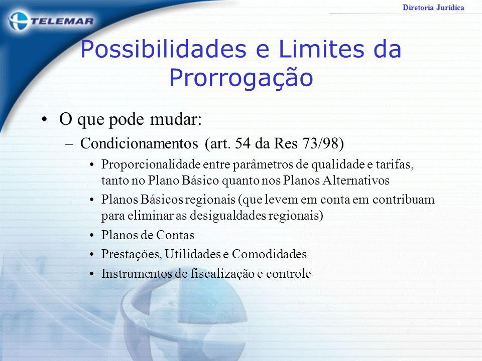 Diretoria Jurídica Possibilidades e Limites da Prorrogação O que pode mudar: –Condicionamentos (art. 54 da Res 73/98) Limites (deveres de abstenção) –