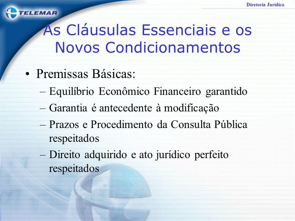 Diretoria Jurídica CONCLUSÃO ESTABILIDADE é o sinal necessário; FLEXIBILIDADE atrelada a processos rígidos de revisão do equilíbrio econômico financeiro é ferramenta adequada de para atualizar o Contrato de Concessão diante das modificações impostas pelo correr do tempo.