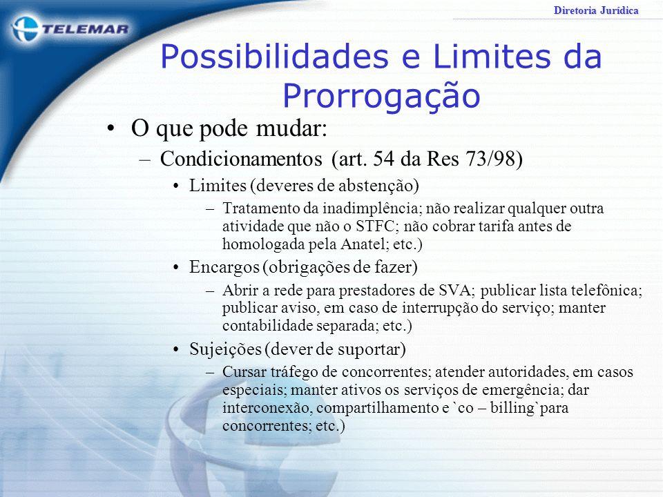 Diretoria Jurídica Possibilidades e Limites da Prorrogação O que pode mudar: –Metas de Qualidade Pertinência com as existentes (incisos do art. 54 da