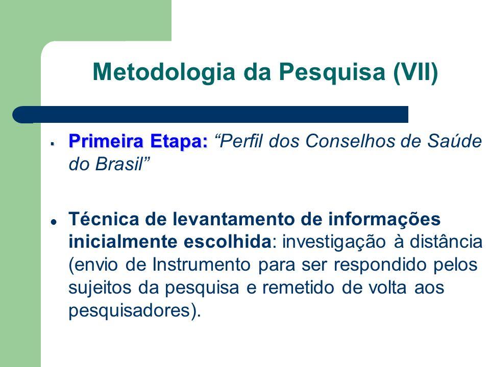 Primeira Etapa: Primeira Etapa: Perfil dos Conselhos de Saúde do Brasil Técnica de levantamento de informações inicialmente escolhida: investigação à