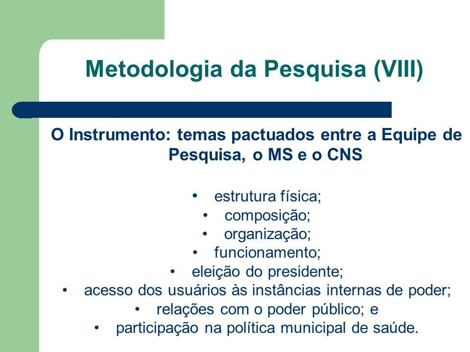 O Instrumento: temas pactuados entre a Equipe de Pesquisa, o MS e o CNS estrutura física; composição; organização; funcionamento; eleição do president