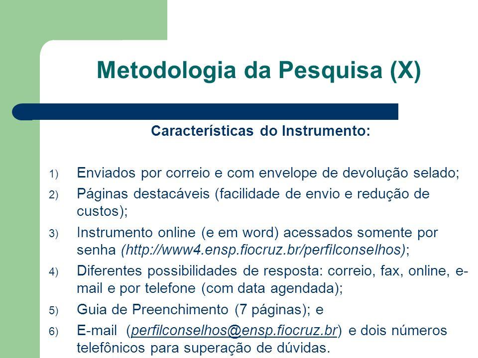 Características do Instrumento: 1) Enviados por correio e com envelope de devolução selado; 2) Páginas destacáveis (facilidade de envio e redução de c