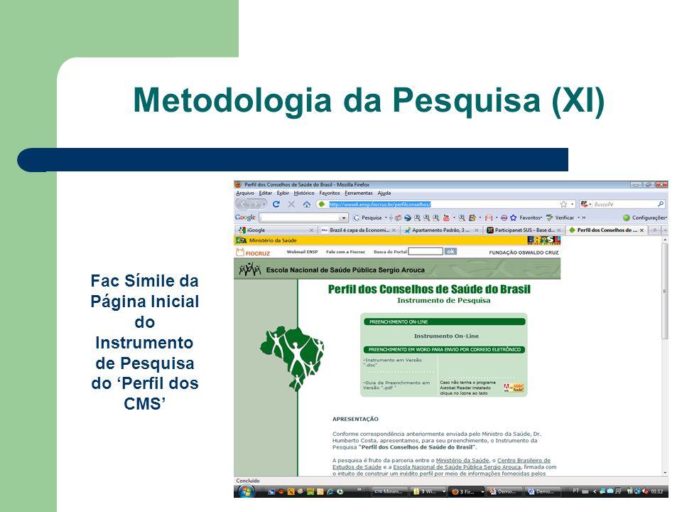 Fac Símile da Página Inicial do Instrumento de Pesquisa do Perfil dos CMS Metodologia da Pesquisa (XI)