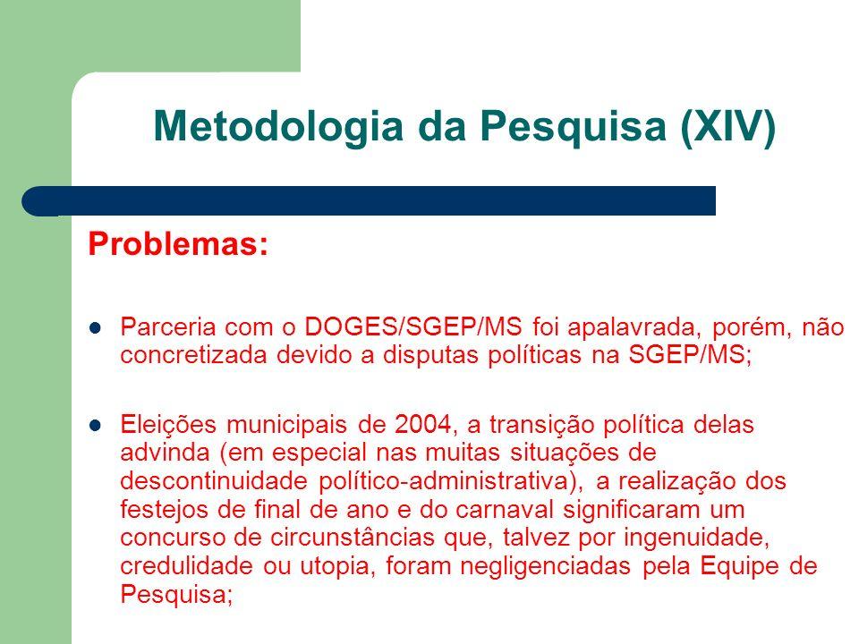 Problemas: Parceria com o DOGES/SGEP/MS foi apalavrada, porém, não concretizada devido a disputas políticas na SGEP/MS; Eleições municipais de 2004, a