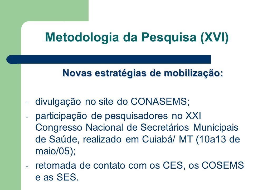 Novas estratégias de mobilização: - divulgação no site do CONASEMS; - participação de pesquisadores no XXI Congresso Nacional de Secretários Municipai