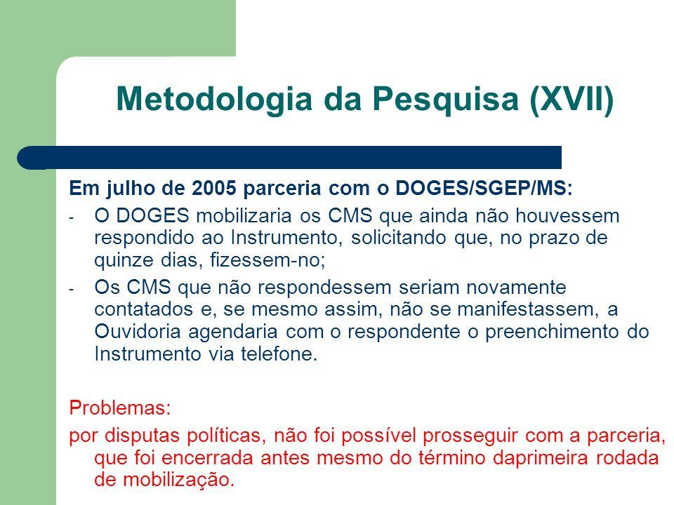 Em julho de 2005 parceria com o DOGES/SGEP/MS: - O DOGES mobilizaria os CMS que ainda não houvessem respondido ao Instrumento, solicitando que, no pra