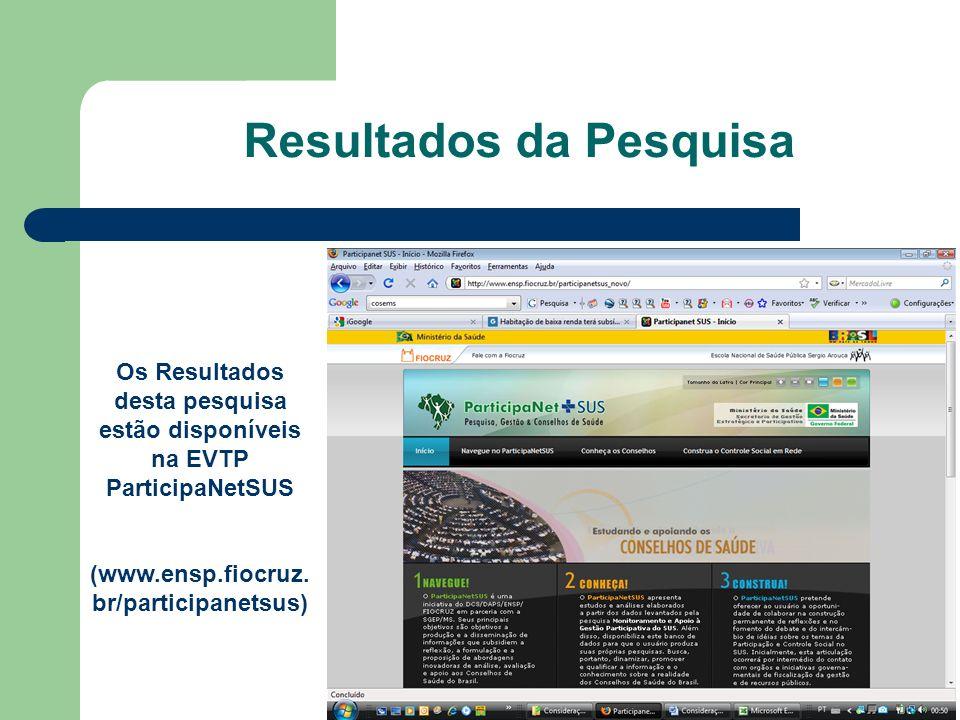 Os Resultados desta pesquisa estão disponíveis na EVTP ParticipaNetSUS (www.ensp.fiocruz. br/participanetsus) Resultados da Pesquisa