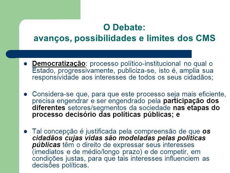 Democratização: processo político-institucional no qual o Estado, progressivamente, publiciza-se, isto é, amplia sua responsividade aos interesses de