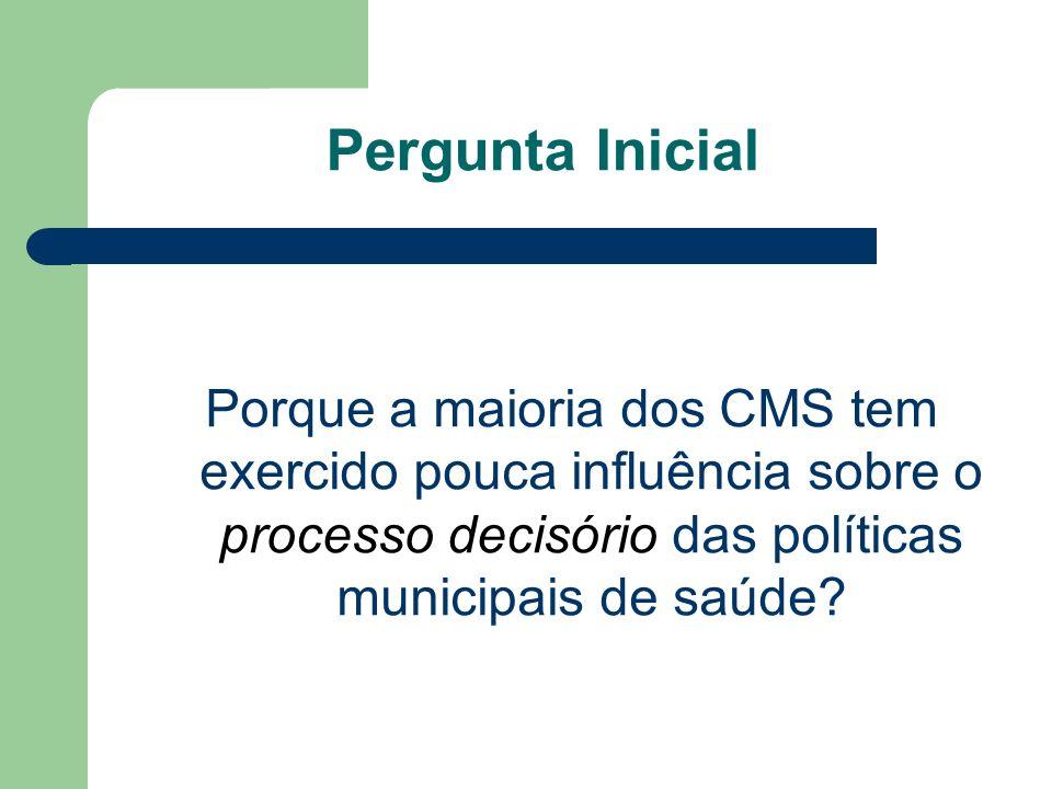 Pergunta Inicial Porque a maioria dos CMS tem exercido pouca influência sobre o processo decisório das políticas municipais de saúde?