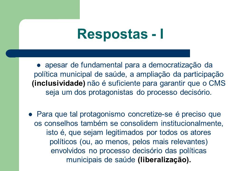 apesar de fundamental para a democratização da política municipal de saúde, a ampliação da participação (inclusividade) não é suficiente para garantir