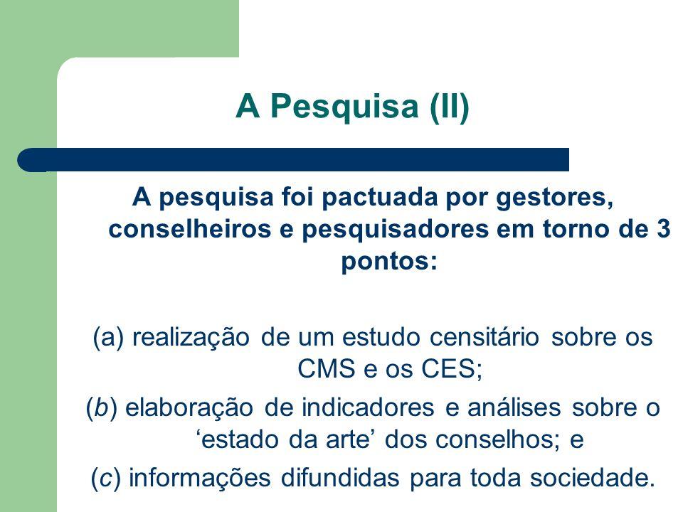 A pesquisa foi pactuada por gestores, conselheiros e pesquisadores em torno de 3 pontos: (a) realização de um estudo censitário sobre os CMS e os CES;