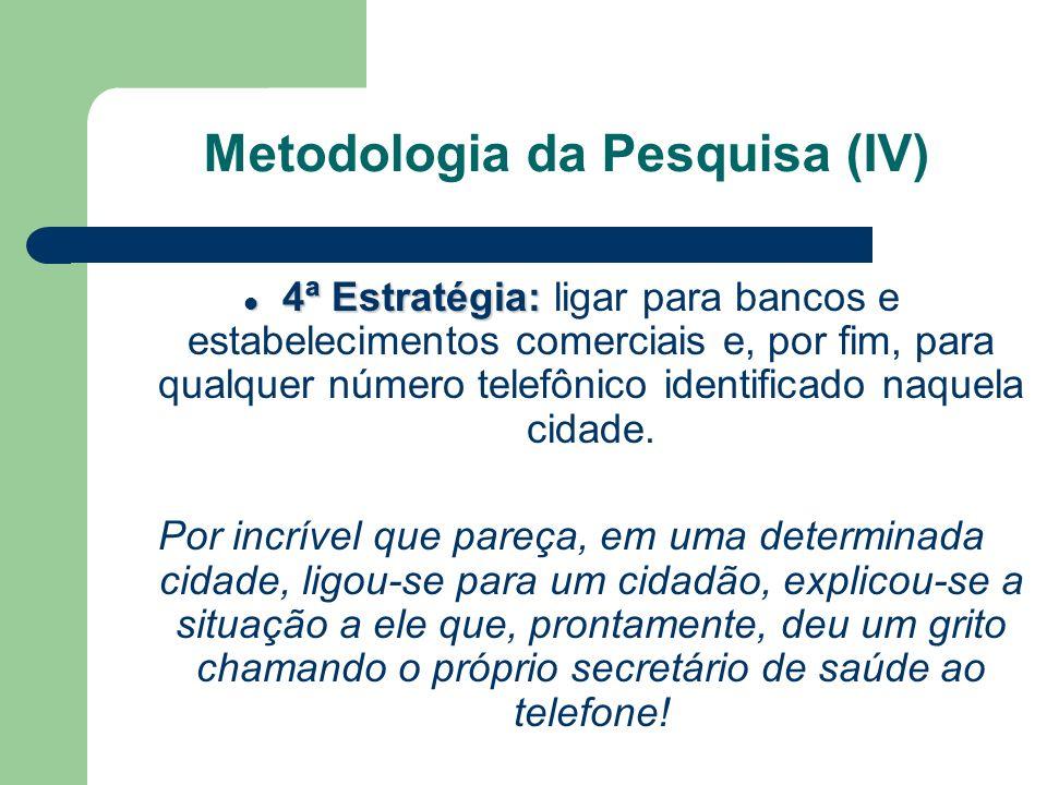 Foi possível identificar possibilidades de contato com os 5.560 CMS então criados; Estas informações foram consolidadas noCadastro dos Conselhos Municipais de Saúde; O Cadastro foi digitalizado e tornado dinâmico por meio de um CD-ROM, apresentado na 142ª Reunião Ordinária do CNS (5 e 6 de Maio/03) Metodologia da Pesquisa (V)