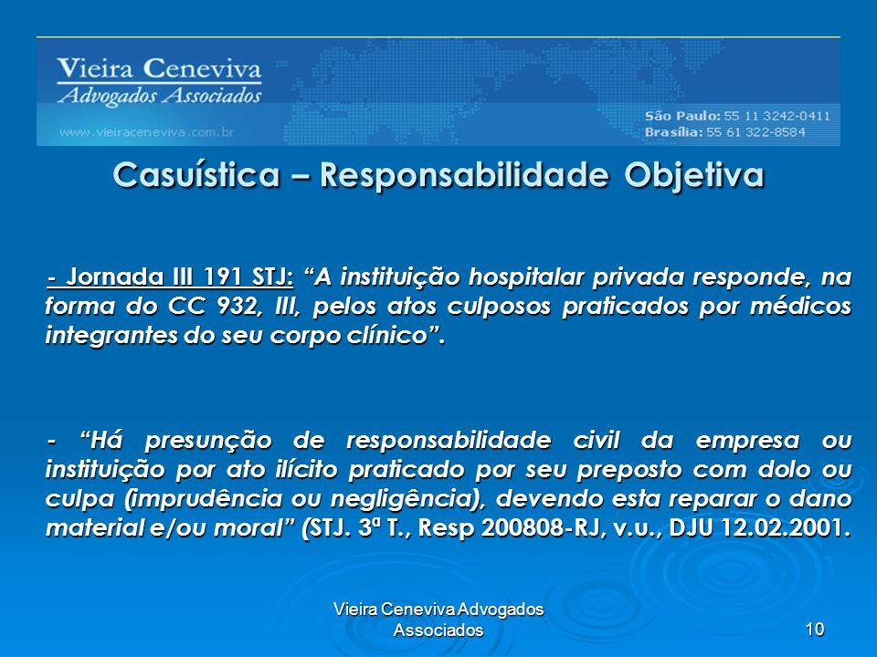 Vieira Ceneviva Advogados Associados10 Casuística – Responsabilidade Objetiva - Jornada III 191 STJ: A instituição hospitalar privada responde, na for