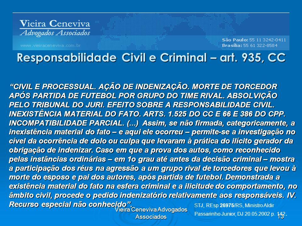 Vieira Ceneviva Advogados Associados13 Responsabilidade Civil e Criminal – art. 935, CC CIVIL E PROCESSUAL. AÇÃO DE INDENIZAÇÃO. MORTE DE TORCEDOR APÓ