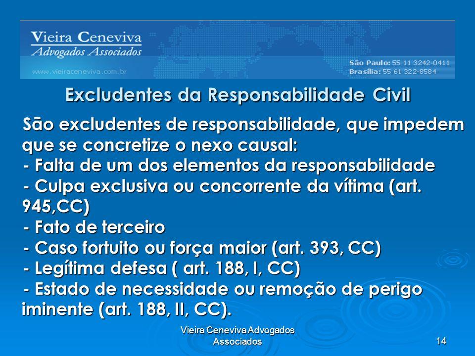 Vieira Ceneviva Advogados Associados14 Excludentes da Responsabilidade Civil São excludentes de responsabilidade, que impedem que se concretize o nexo