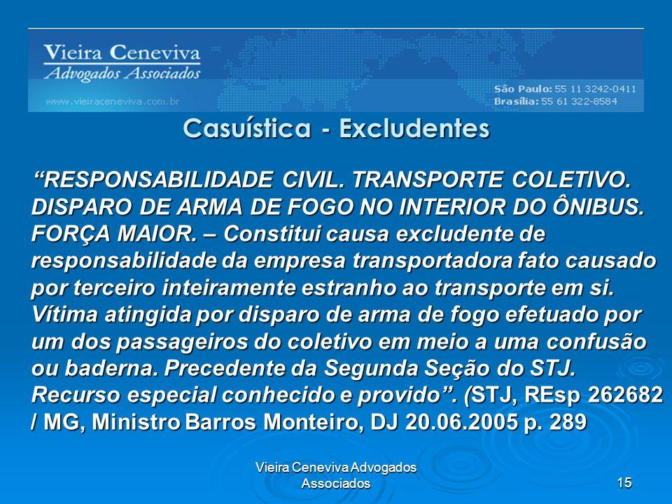 Vieira Ceneviva Advogados Associados15 Casuística - Excludentes RESPONSABILIDADE CIVIL. TRANSPORTE COLETIVO. DISPARO DE ARMA DE FOGO NO INTERIOR DO ÔN