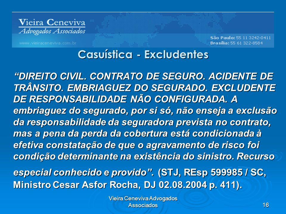 Vieira Ceneviva Advogados Associados16 Casuística - Excludentes DIREITO CIVIL. CONTRATO DE SEGURO. ACIDENTE DE TRÂNSITO. EMBRIAGUEZ DO SEGURADO. EXCLU