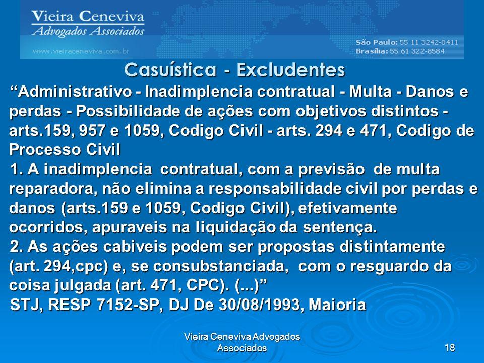 Vieira Ceneviva Advogados Associados18 Casuística - Excludentes Administrativo - Inadimplencia contratual - Multa - Danos e perdas - Possibilidade de