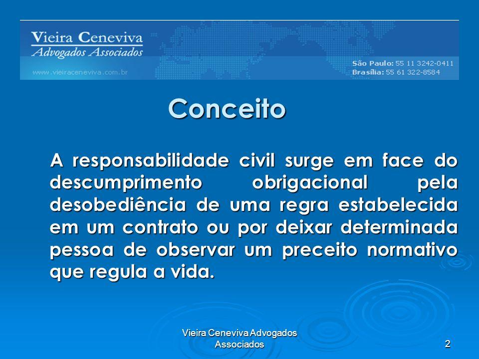 Vieira Ceneviva Advogados Associados2 Conceito A responsabilidade civil surge em face do descumprimento obrigacional pela desobediência de uma regra e
