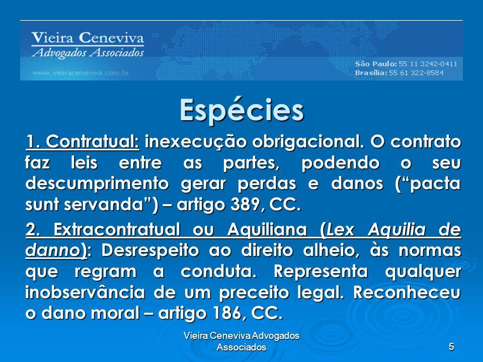 Vieira Ceneviva Advogados Associados5 Espécies 1. Contratual: inexecução obrigacional. O contrato faz leis entre as partes, podendo o seu descumprimen