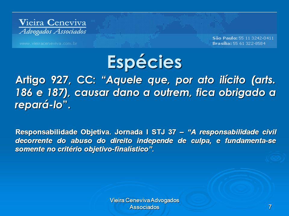 Vieira Ceneviva Advogados Associados7 Espécies Artigo 927, CC: Aquele que, por ato ilícito (arts. 186 e 187), causar dano a outrem, fica obrigado a re