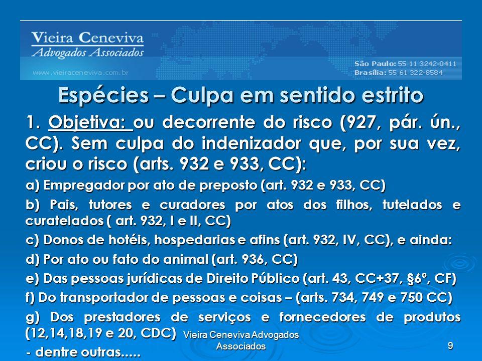 Vieira Ceneviva Advogados Associados9 Espécies – Culpa em sentido estrito 1. Objetiva: ou decorrente do risco (927, pár. ún., CC). Sem culpa do indeni