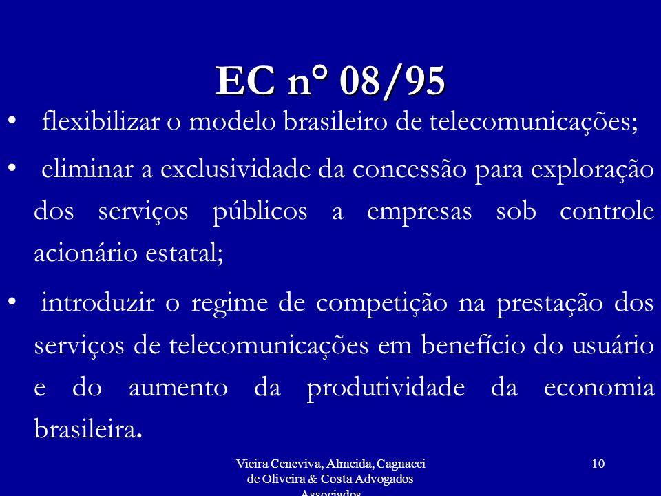 Vieira Ceneviva, Almeida, Cagnacci de Oliveira & Costa Advogados Associados 10 EC n° 08/95 flexibilizar o modelo brasileiro de telecomunicações; elimi