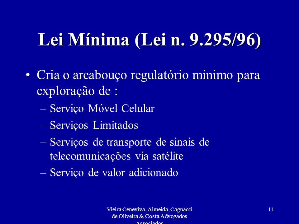 Vieira Ceneviva, Almeida, Cagnacci de Oliveira & Costa Advogados Associados 11 Lei Mínima (Lei n. 9.295/96) Cria o arcabouço regulatório mínimo para e