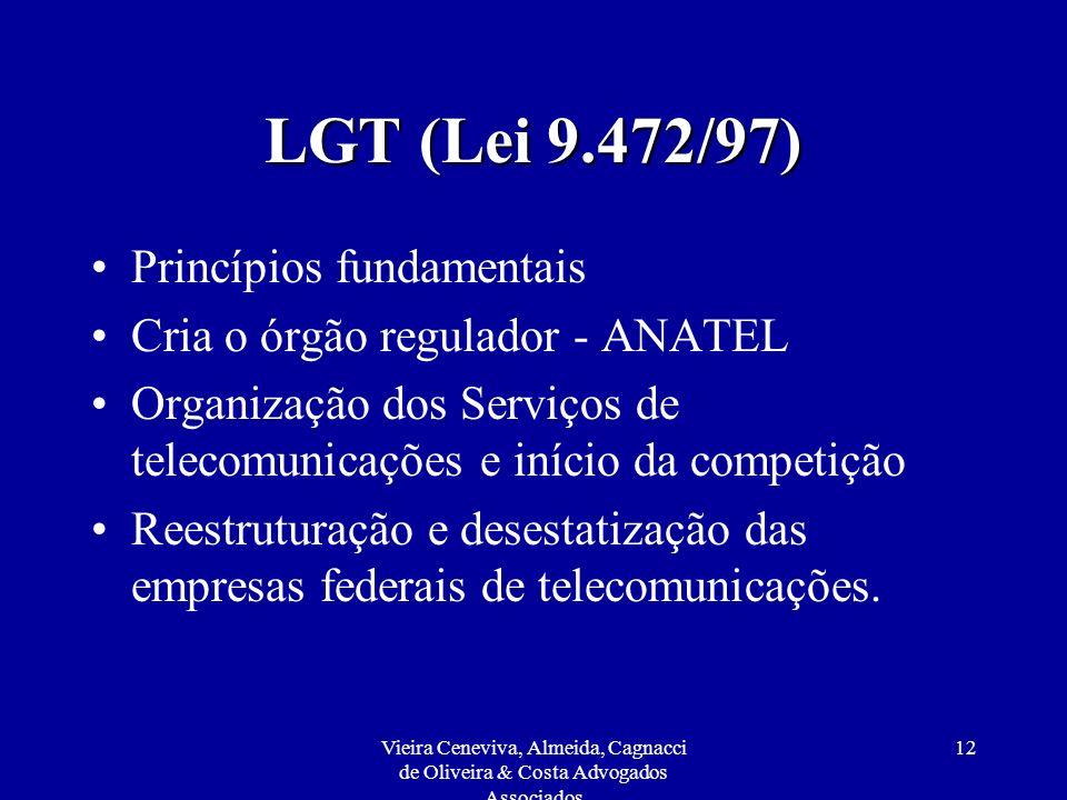 Vieira Ceneviva, Almeida, Cagnacci de Oliveira & Costa Advogados Associados 12 LGT (Lei 9.472/97) Princípios fundamentais Cria o órgão regulador - ANA