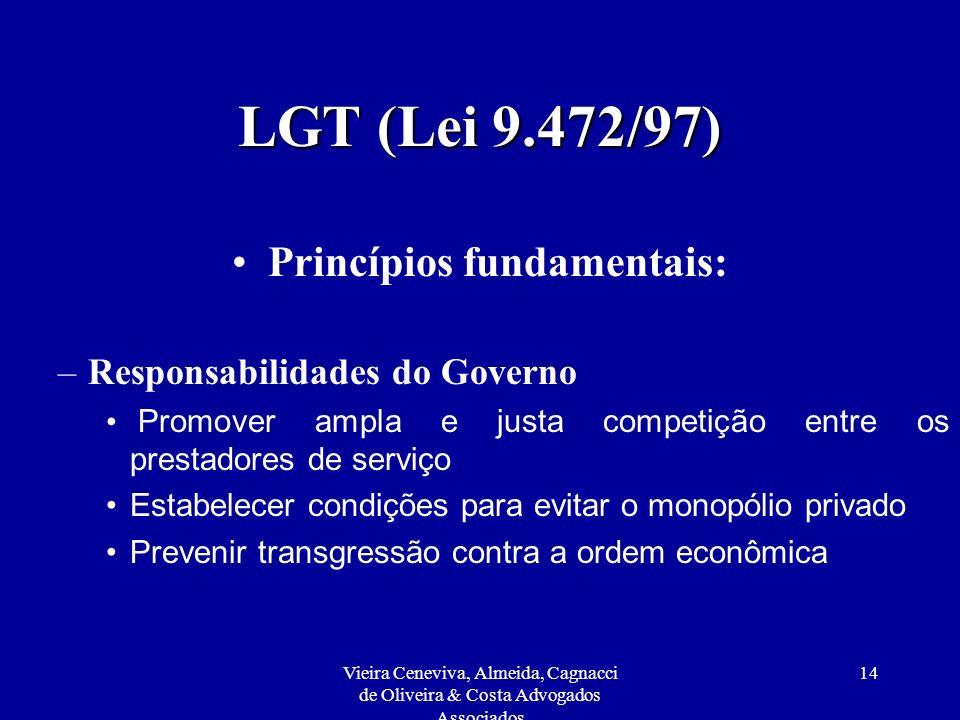Vieira Ceneviva, Almeida, Cagnacci de Oliveira & Costa Advogados Associados 14 LGT (Lei 9.472/97) Princípios fundamentais: –Responsabilidades do Gover