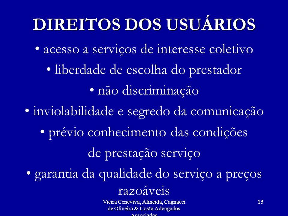 Vieira Ceneviva, Almeida, Cagnacci de Oliveira & Costa Advogados Associados 15 DIREITOS DOS USUÁRIOS acesso a serviços de interesse coletivo liberdade