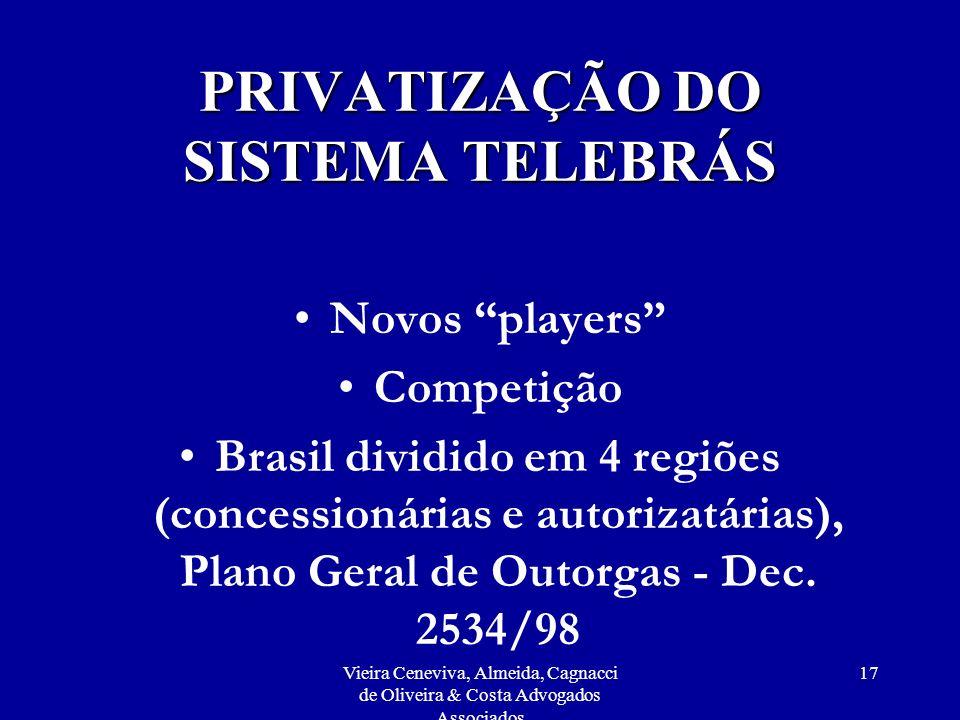 Vieira Ceneviva, Almeida, Cagnacci de Oliveira & Costa Advogados Associados 17 PRIVATIZAÇÃO DO SISTEMA TELEBRÁS Novos players Competição Brasil dividi