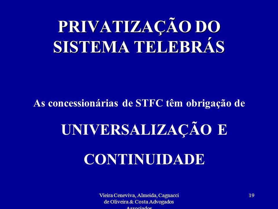 Vieira Ceneviva, Almeida, Cagnacci de Oliveira & Costa Advogados Associados 19 PRIVATIZAÇÃO DO SISTEMA TELEBRÁS As concessionárias de STFC têm obrigaç
