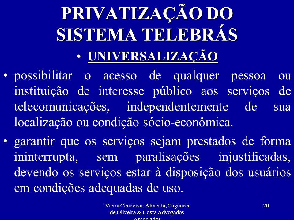 Vieira Ceneviva, Almeida, Cagnacci de Oliveira & Costa Advogados Associados 20 PRIVATIZAÇÃO DO SISTEMA TELEBRÁS UNIVERSALIZAÇÃOUNIVERSALIZAÇÃO possibi