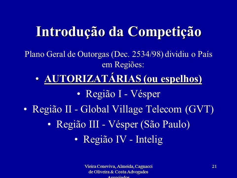 Vieira Ceneviva, Almeida, Cagnacci de Oliveira & Costa Advogados Associados 21 Introdução da Competição Plano Geral de Outorgas (Dec. 2534/98) dividiu