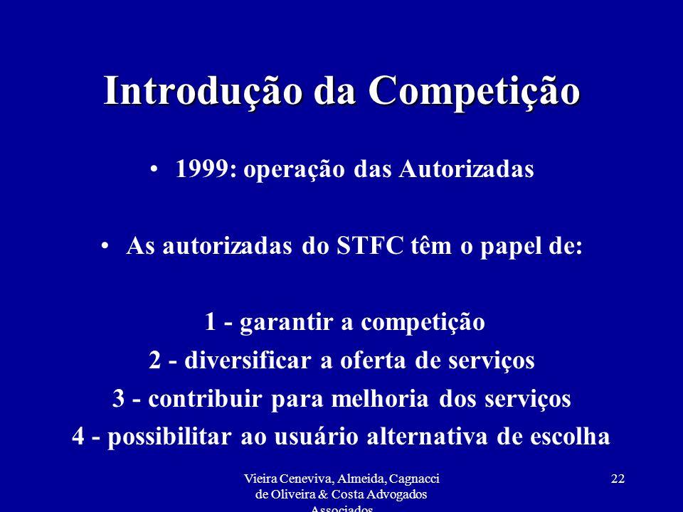 Vieira Ceneviva, Almeida, Cagnacci de Oliveira & Costa Advogados Associados 22 Introdução da Competição 1999: operação das Autorizadas As autorizadas