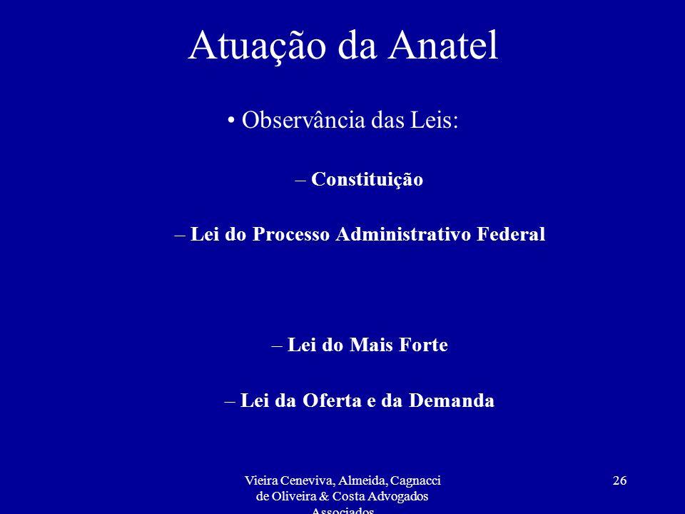 Vieira Ceneviva, Almeida, Cagnacci de Oliveira & Costa Advogados Associados 26 Atuação da Anatel Observância das Leis: – Constituição – Lei do Process