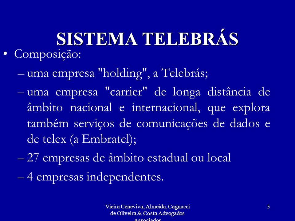 Vieira Ceneviva, Almeida, Cagnacci de Oliveira & Costa Advogados Associados 6 SISTEMA TELEBRÁS Empresas independentes: –três estatais a CRT (então controlada pelo Gov.