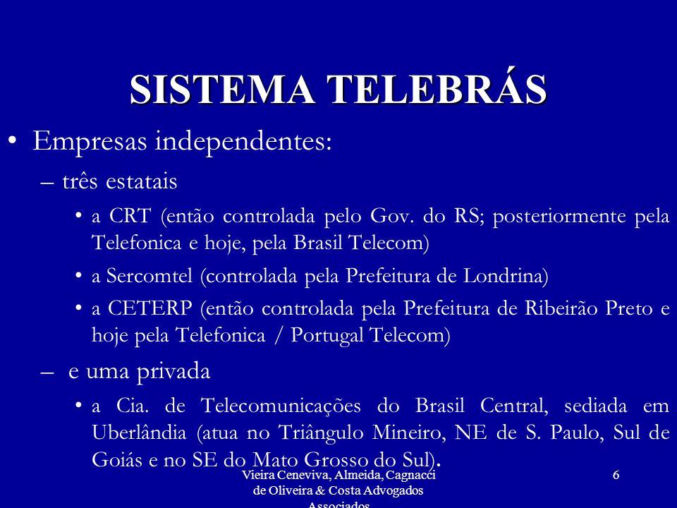 Vieira Ceneviva, Almeida, Cagnacci de Oliveira & Costa Advogados Associados 6 SISTEMA TELEBRÁS Empresas independentes: –três estatais a CRT (então con