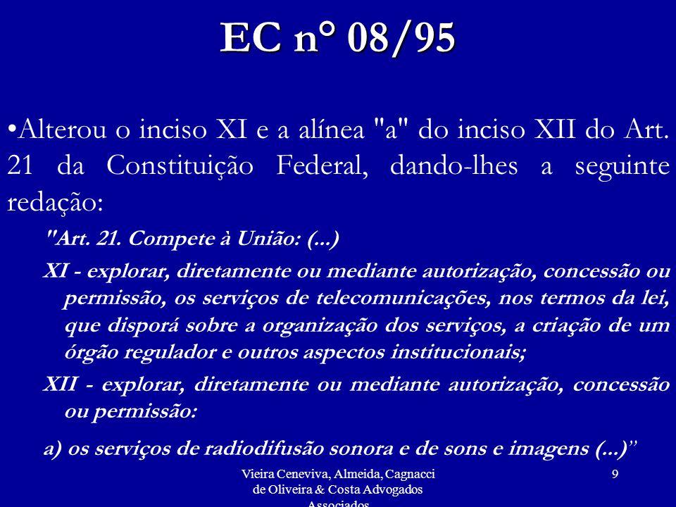 Vieira Ceneviva, Almeida, Cagnacci de Oliveira & Costa Advogados Associados 9 EC n° 08/95 Alterou o inciso XI e a alínea