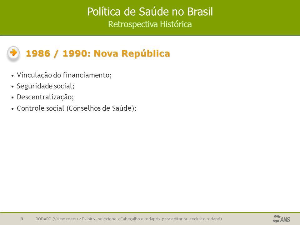 RODAPÉ (Vá no menu, selecione para editar ou excluir o rodapé)9 Vinculação do financiamento; Seguridade social; Descentralização; Controle social (Con