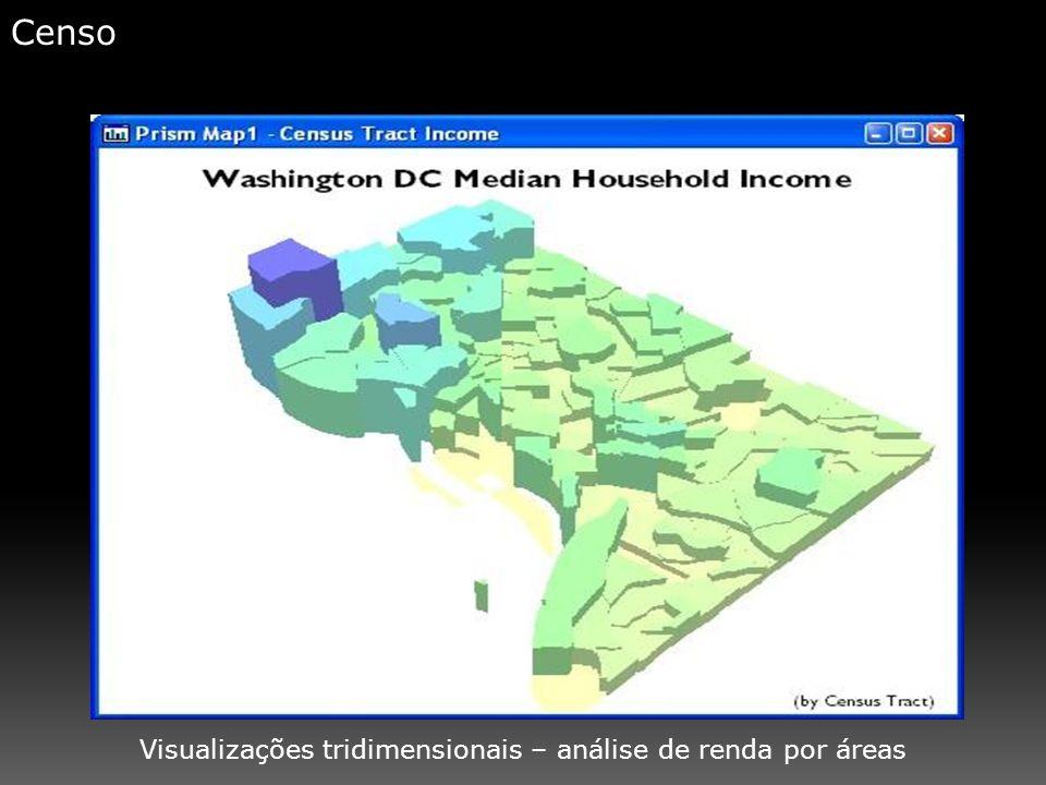 Censo Visualizações tridimensionais – análise de renda por áreas